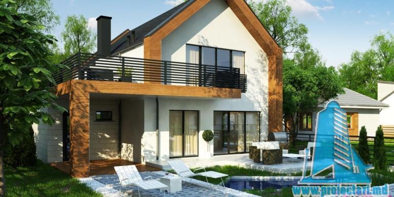 proiect de casa cu parter si mansarda cu decoruri din lemn3
