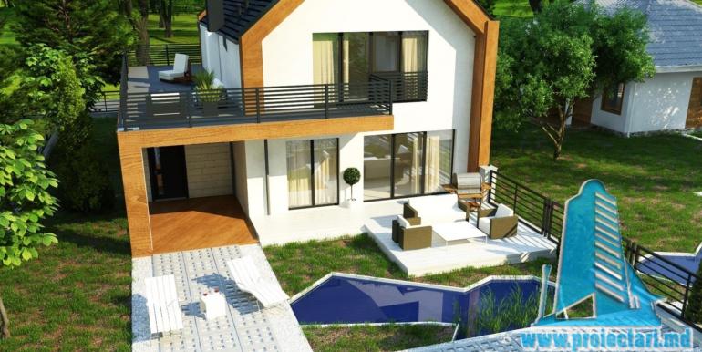 proiect de casa cu parter si mansarda cu decoruri din lemn4