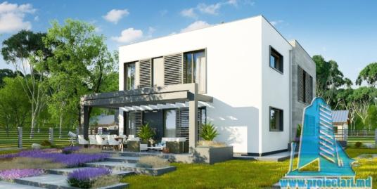 Proiect de casa cu doua etaje,acoperis plat, garaj pentru doua automobile, si terasa de vara amenajata la sol – 100959