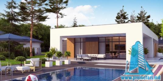 Proiect de casa cu parter si acoperis plat cu terasa frumos amenajata si garaj pentru un automobil – 100964