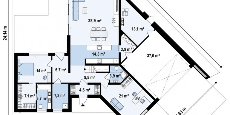 Proiect de casa cu un etaj si terasa mare plan parter