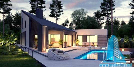 Proiect de casa cu parter cu terasa frumos amenajata si garaj pentru un automobil – 100963