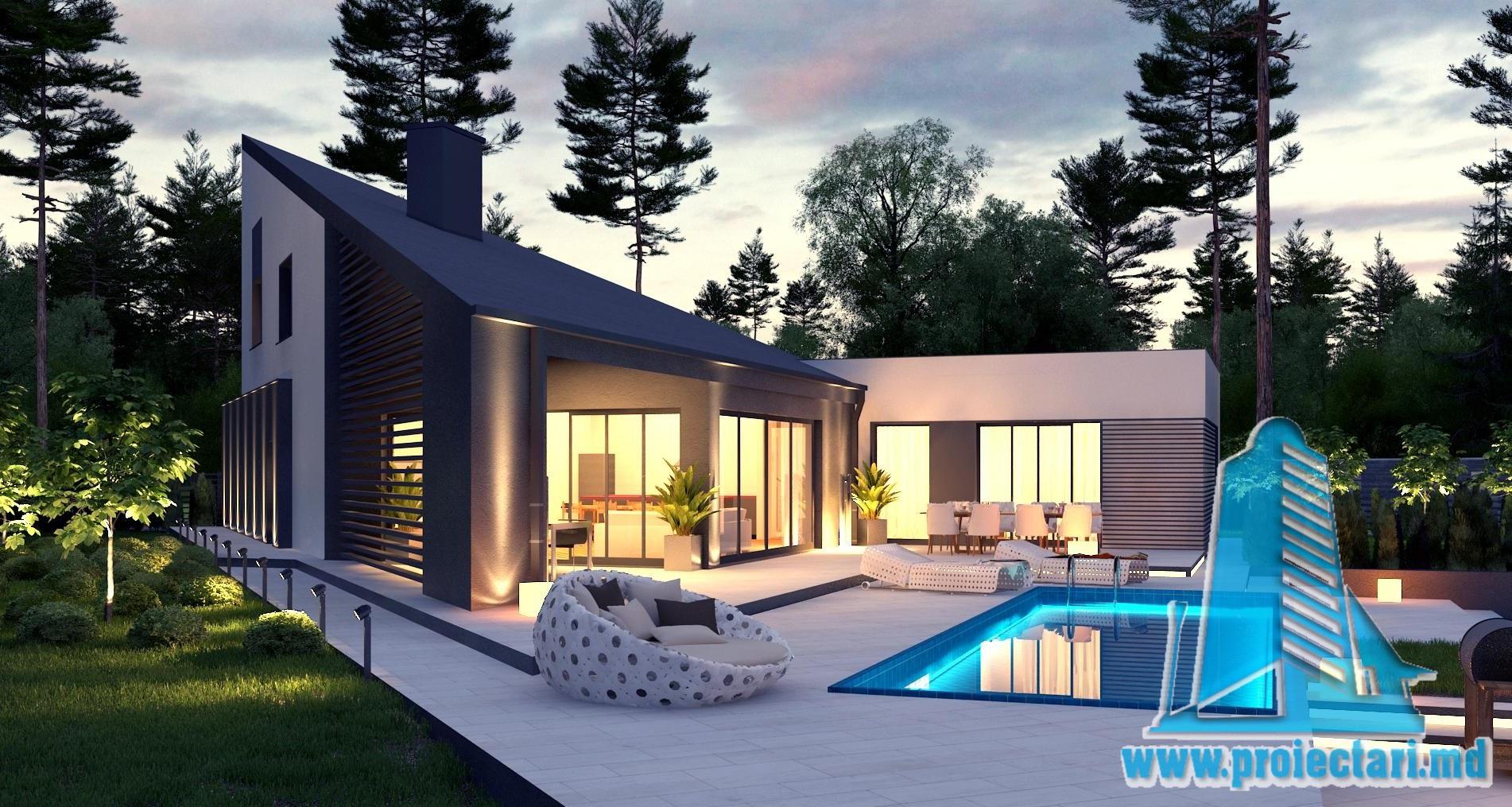 Proiect de casa cu parter cu terasa frumos amenajata si for Proiecte case cu etaj si terasa
