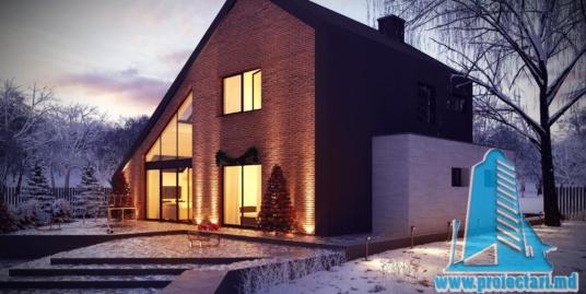 Proiect de casa din caramida cu parter, mansarda si terasa de vara-100965