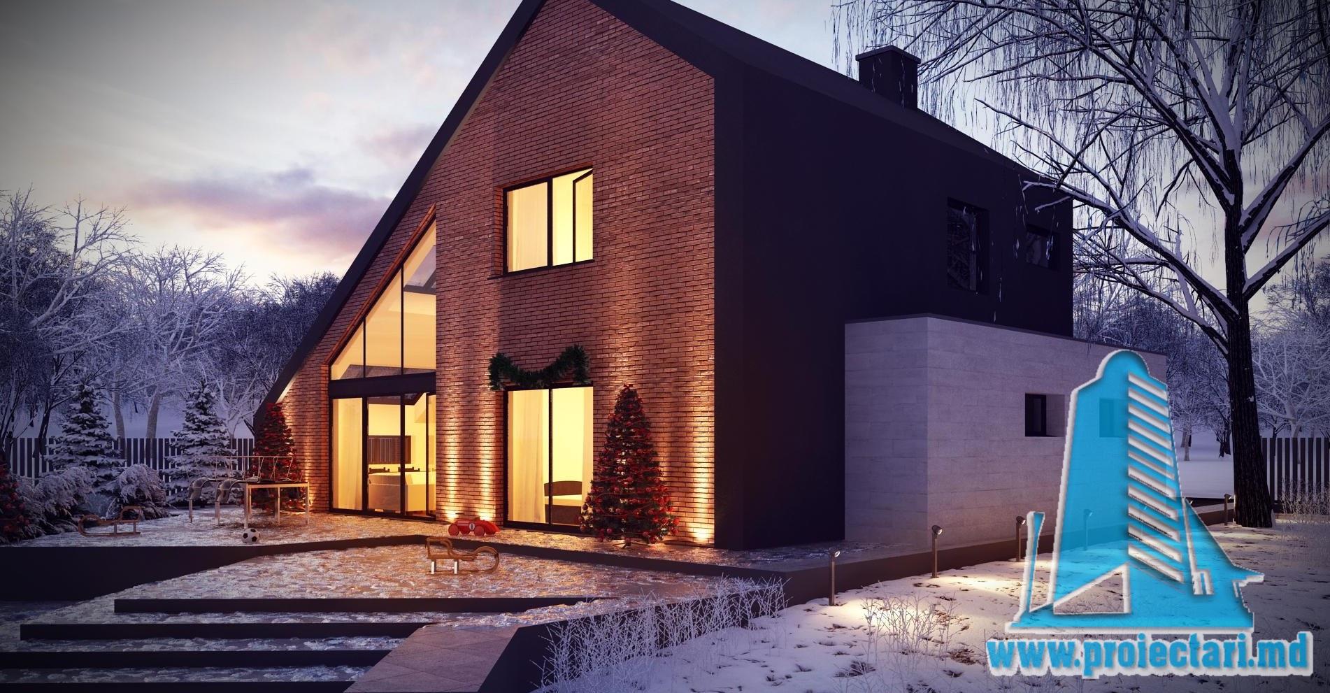 Проект дома c  партером, мансардой и летней террасой из кирпича -100965