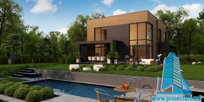 proiect de casa cu doua etaje acoperis plat si bazin