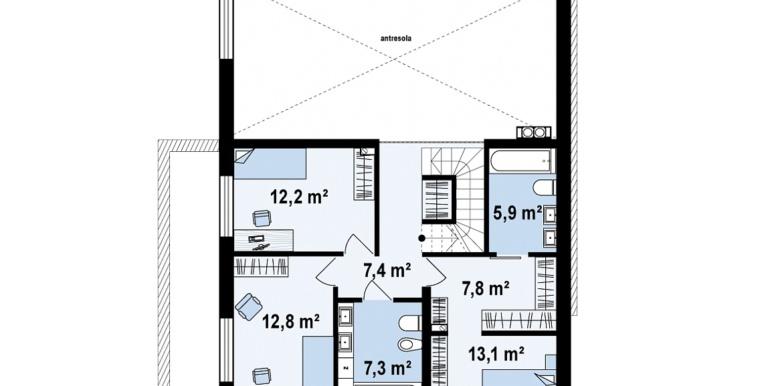 proiect de casa cu doua etaje acoperis plat si bazin etaj