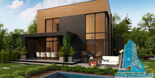 Proiect de casa cu doua etaje cu acoperis plat si terasa de vara frumos amenajata-100962