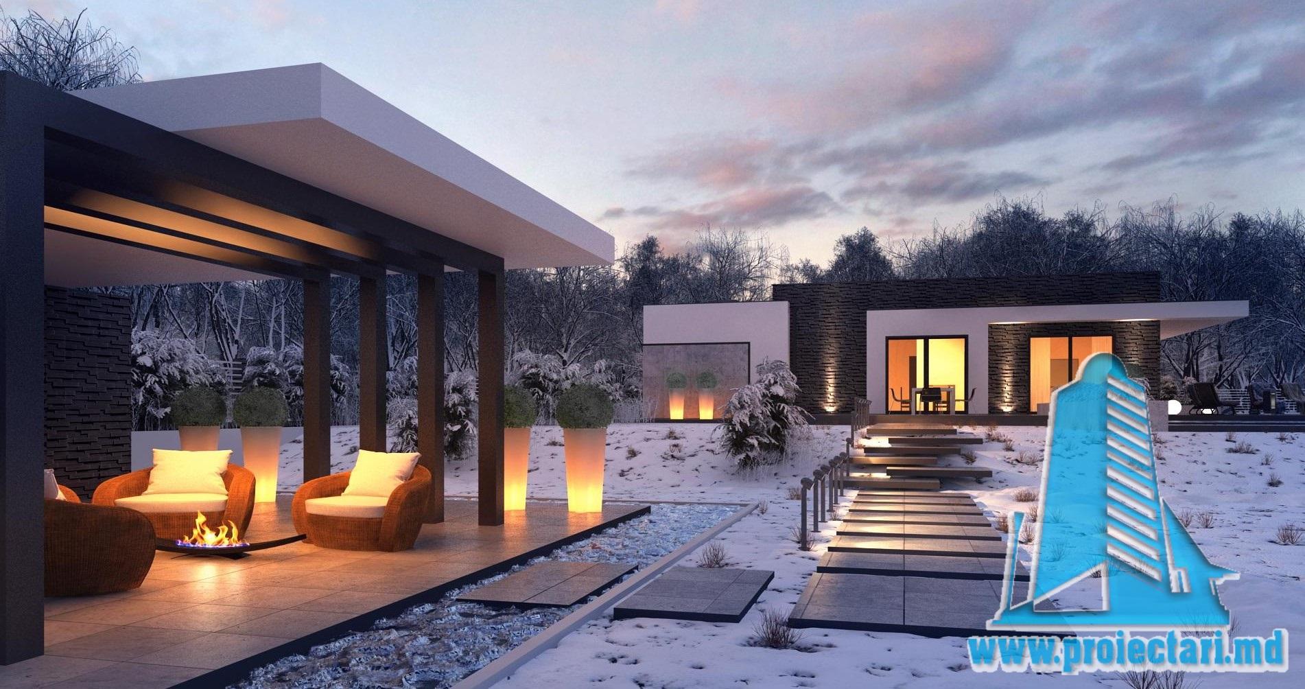 Proiect de casa cu parter si acoperis plat cu terasa frumos amenajata si garaj pentru un automobil – 100966