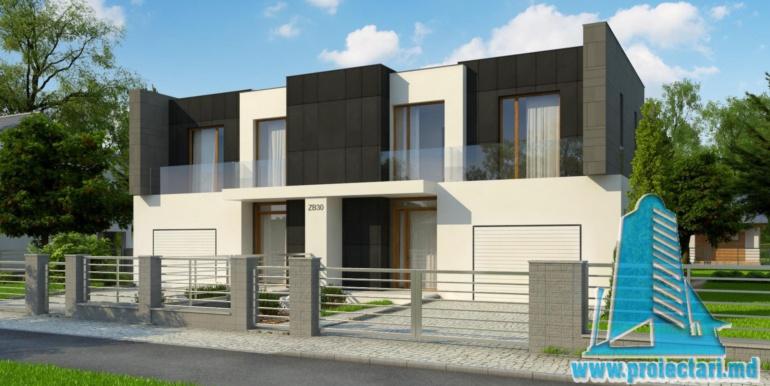 proiect de casa duplex pentru dopua familii cusuprafata pina la 150 m2