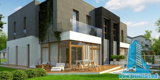 Proiect de casa de tip duplex cu doua etaje, garaj pentru doua automobile, terasa de vara la sol si pe acoperis – 100971
