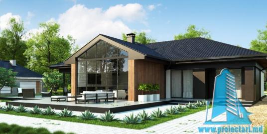 Proiect de casa cu parter si acoperis in din tigla ceramica, cu terasa frumos amenajata si garaj pentru un automobil – 100968