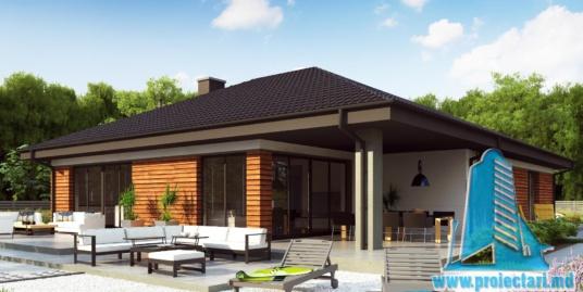 Proiect de casa cu parter si acoperis in din tigla ceramica, cu terasa frumos amenajata si garaj pentru un automobil – 100967