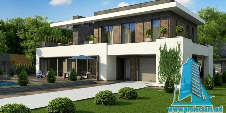 proiect de casa moderna cu acoperis plat cu terasa mare si suprafata de pina la 350m2
