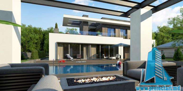 proiect de casa moderna cu acoperis plat cu terasa mare si suprafata de pina la 350m21