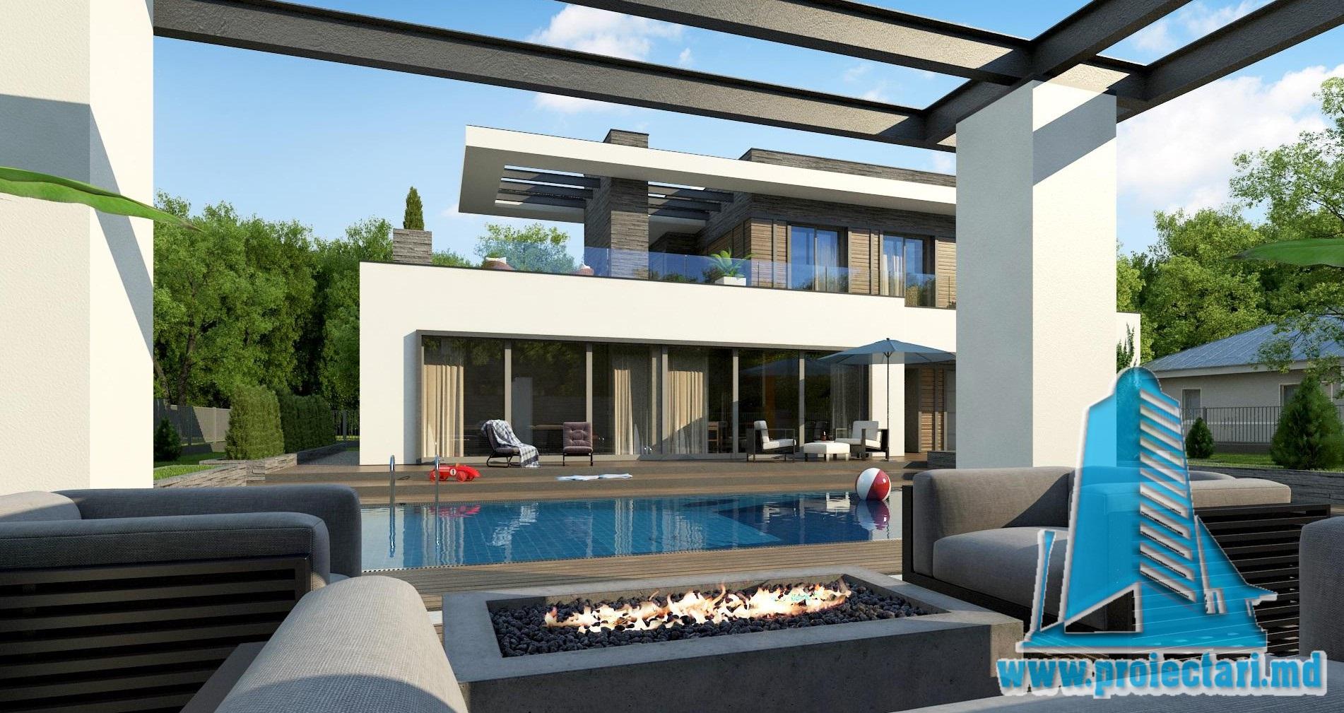 Proiect de casa cu parter si acoperis plat cu terasa frumos amenajata si garaj pentru un automobil – 100969