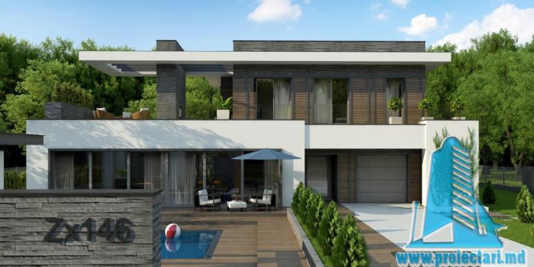 proiect de casa moderna cu acoperis plat cu terasa mare si suprafata de pina la 350m22