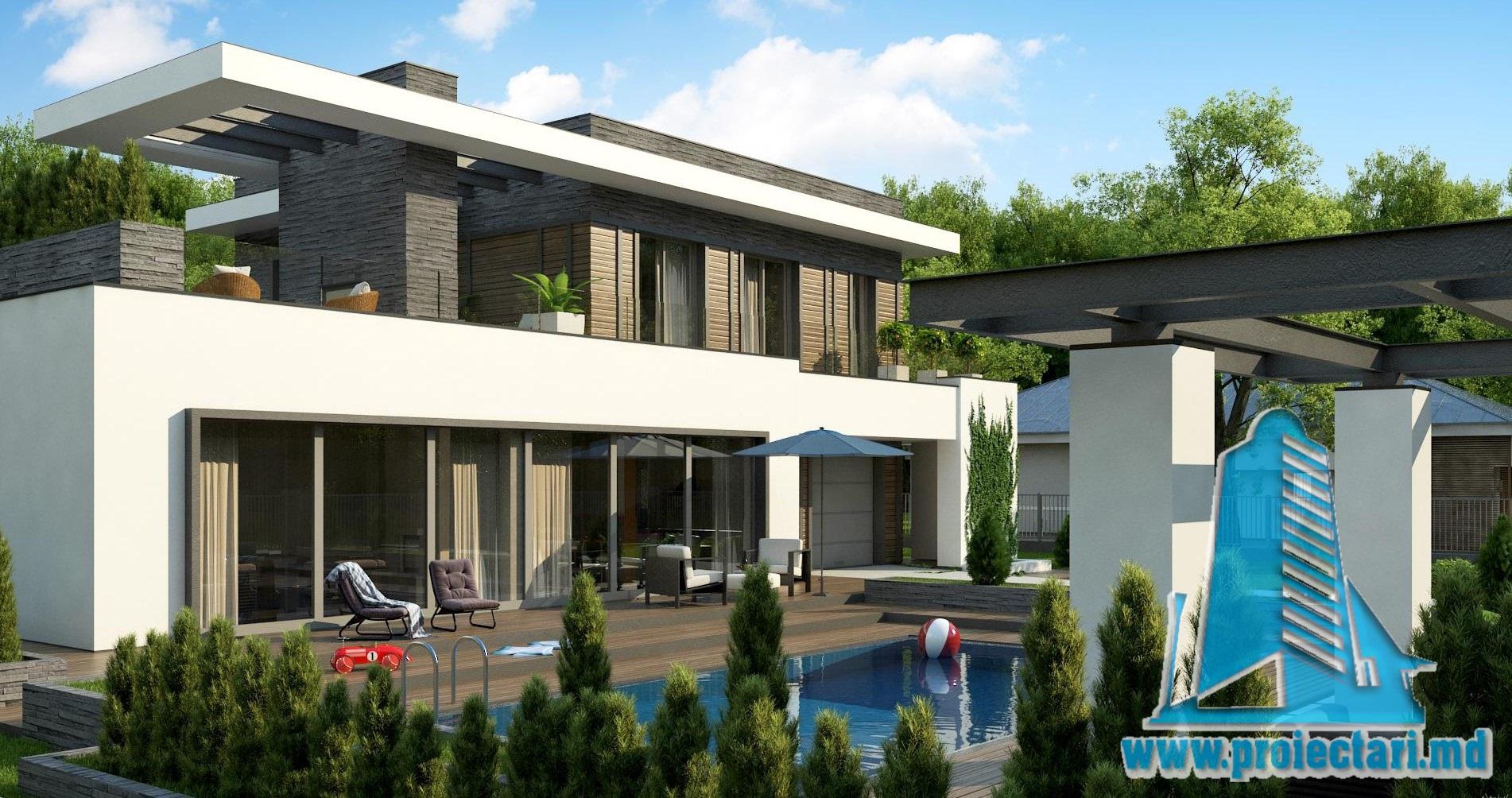 Proiect de casa cu parter si acoperis plat cu terasa for Casa moderna in moldova