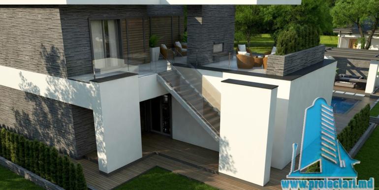proiect de casa moderna cu acoperis plat cu terasa mare si suprafata de pina la 350m25
