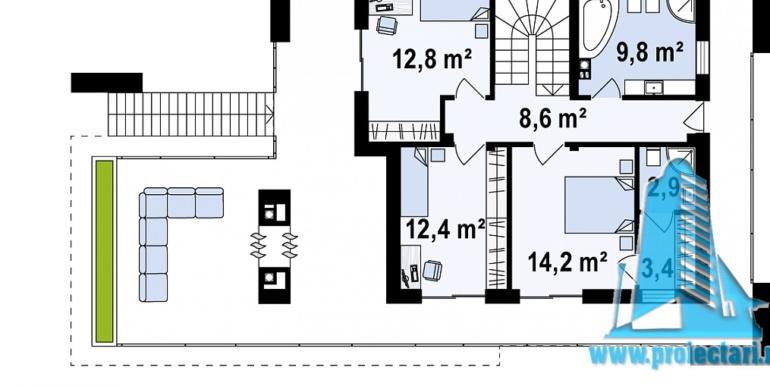 proiect de casa moderna cu acoperis plat cu terasa mare si suprafata de pina la 350m2plan etaj