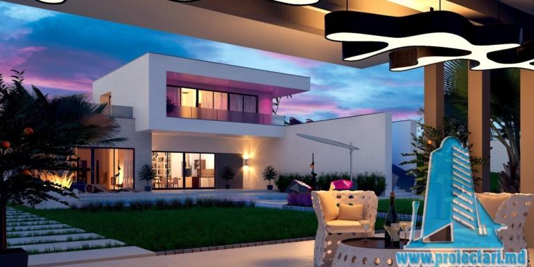 proiect de casa moderna cu acoperis plat si terasa amenajata cu suprafata de pina la 350m2