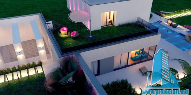 proiect de casa moderna cu acoperis plat si terasa amenajata cu suprafata de pina la 350m2 cu bazin 2