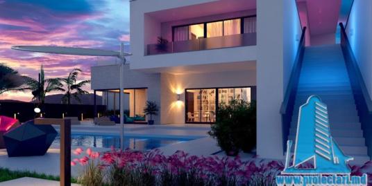 Proiect de casa cu doua etaje cu acoperis plat si terasa de vara frumos amenajata-100970