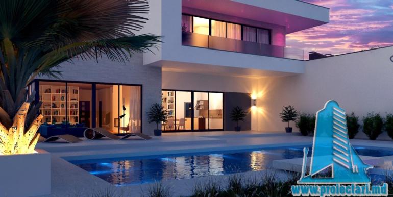 proiect de casa moderna cu acoperis plat si terasa amenajata cu suprafata de pina la 350m2 cu bazin 4