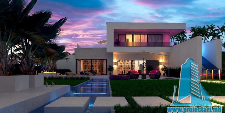 proiect de casa moderna cu acoperis plat si terasa amenajata cu suprafata de pina la 350m2 cu bazin