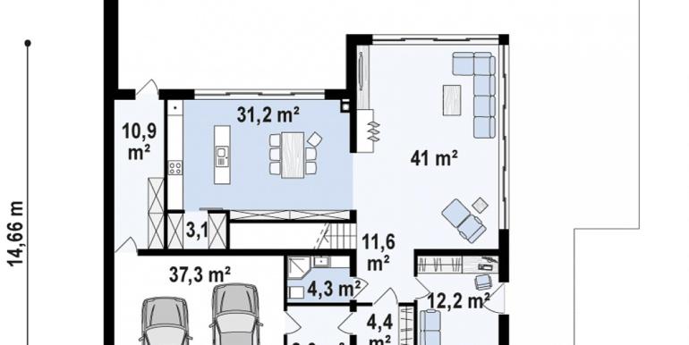 proiect de casa moderna cu acoperis plat si terasa amenajata cu suprafata de pina la 350m2 cu bazin plan parter