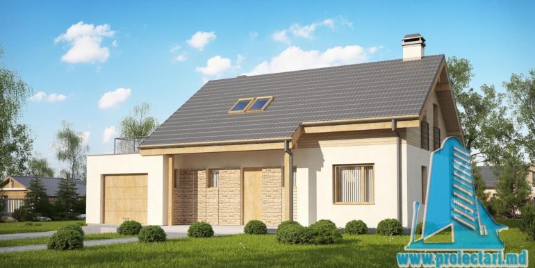 десигн проекта жилого дома с мансардой 180м2 с гаражом для одного автомобиля