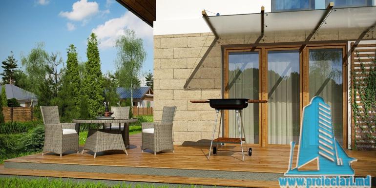 зонна отдыха и коффейный столик проекта жилого дома с мансардой 140м2