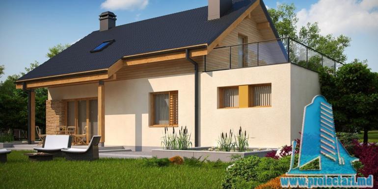 ландшафт проекта жилого дома с мансардой 180м2 с гаражом для одного автомобиля