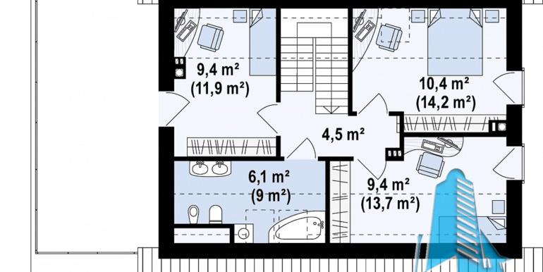 мансарда проекта жилого дома с мансардой 180м2 с гаражом для одного автомобиля