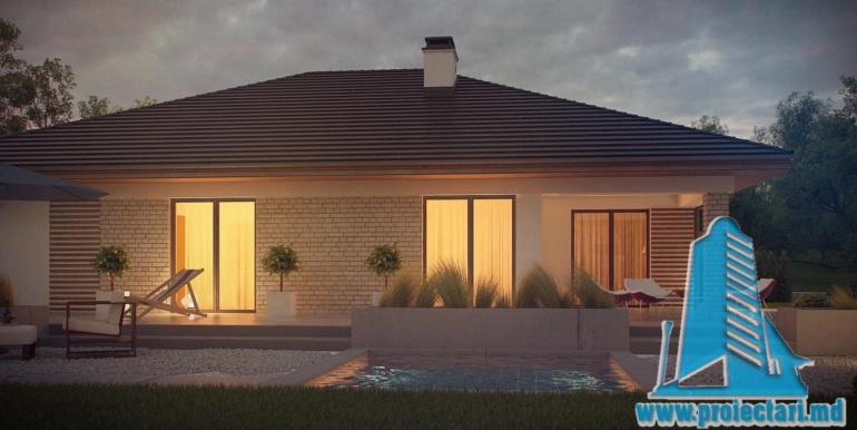 ночной вид с басеином проект дома с гаражом 230м2