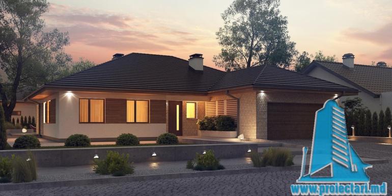 ночной десигн проект дома с гаражом 230м2