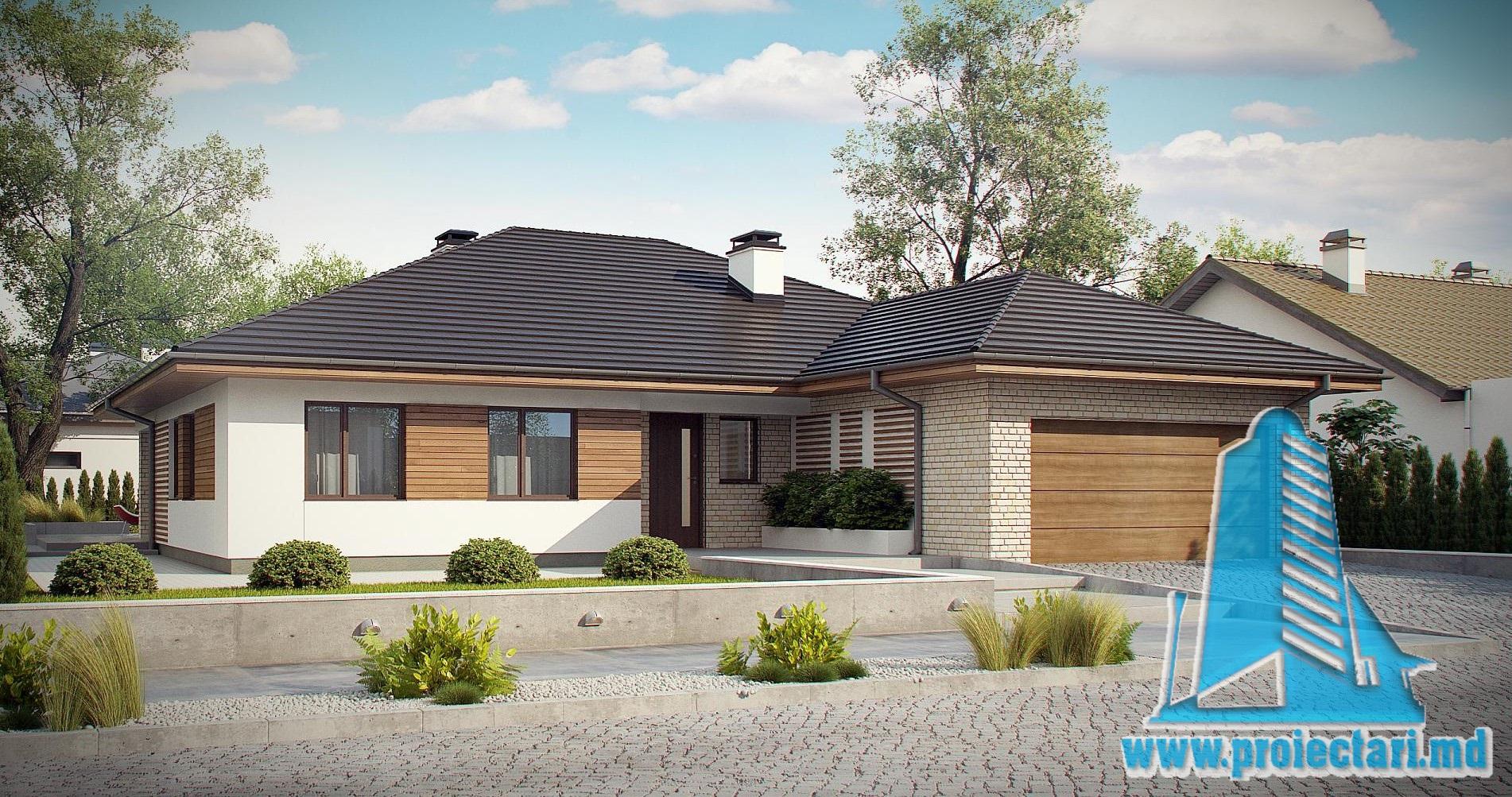 Proiect de casa cu parter, acoperis din tigla ceramica si garaj pentru doua automobile-200m2- 100980