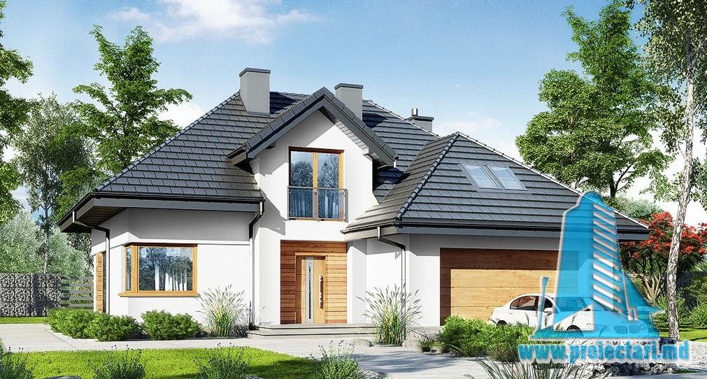 Proiect de casa cu parter si mansarda – 312,0m2 cu terasa de vara si garaj pentru un automobil din piatra de calcar- 100988