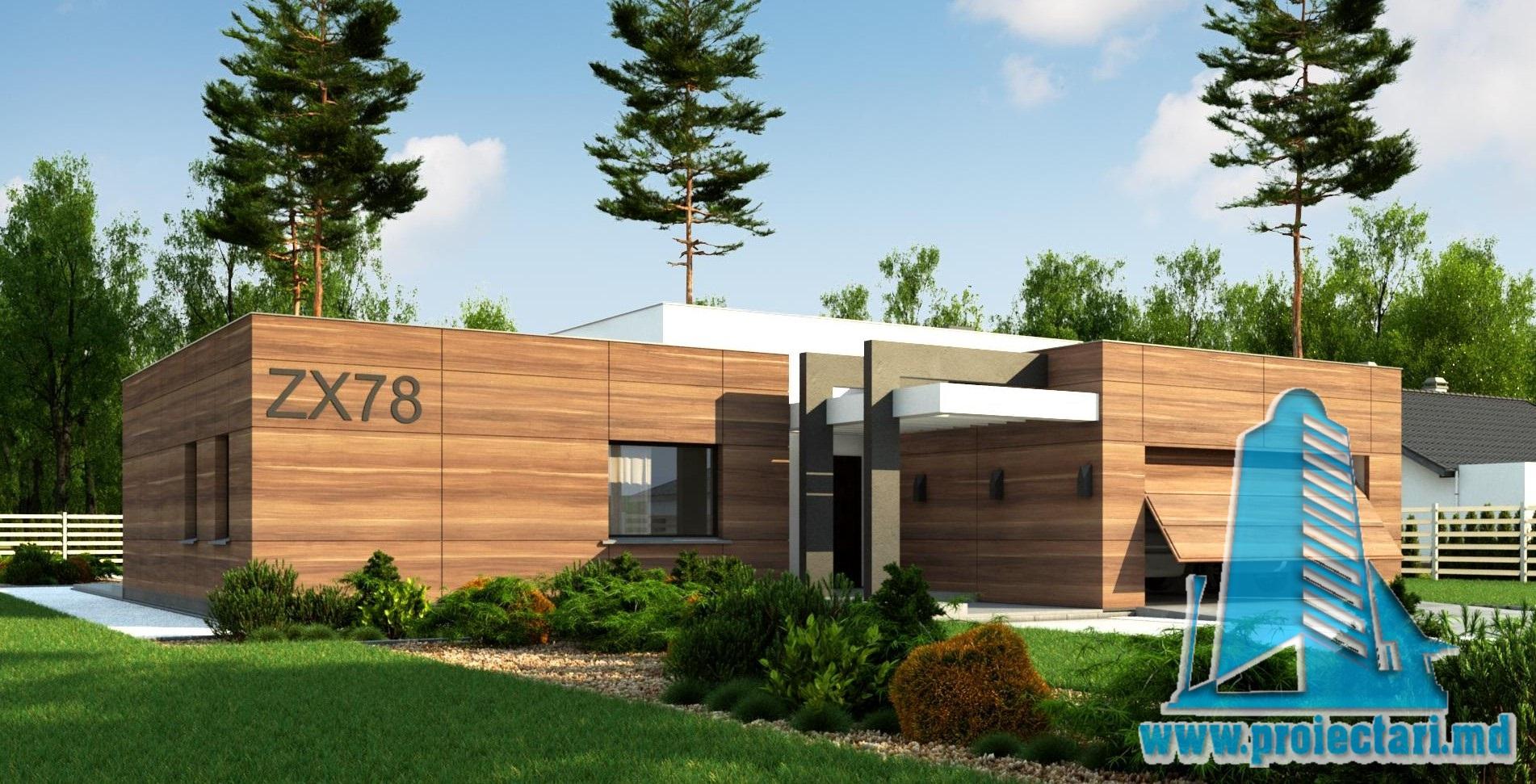 Proiect de casa cu parter, cu acoperis plat si garaj pentru doua automobile-225.0m2- 100982