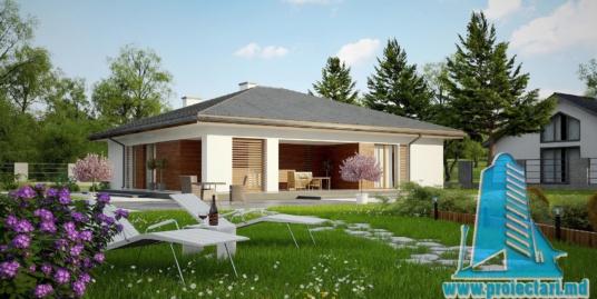 Proiect de casa cu parter si acoperis in panta din tigla ceramica  de 170m2 -100978