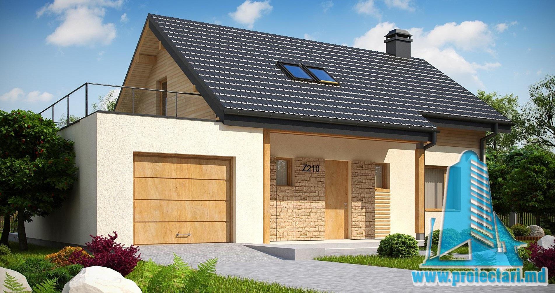 Proiect de casa cu parter si mansarda – 240m2 cu terasa de vara si garaj pentru un automobil din piatra de calcar- 100986