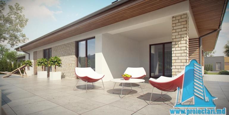 тераса с кафейным столиком проект дома с гаражом 230м2
