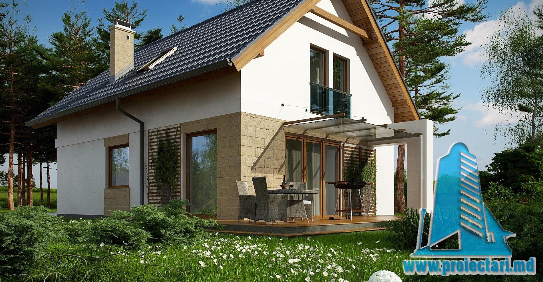 Proiect de casa cu parter si mansarda – 170m2 cu terasa de vara si garaj pentru un automobil din piatra de calcar- 100984