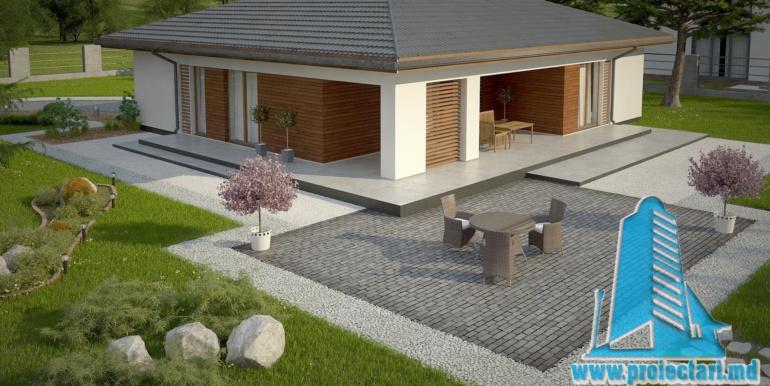 терасса проект одноетажного жилого дома 160м2