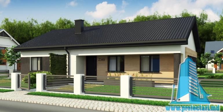 amenajare gradina proiect de casa duplex cu parter acoperis in panta si terasa exterioara