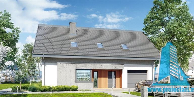 design antreu pentru proiect de casa cu acoperis din tigla 160m2 cu garaj pentru un automobil