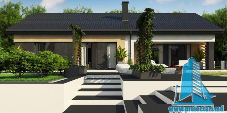 design fata cu piatra si lemn proiect de casa duplex cu parter acoperis in panta si terasa exterioara