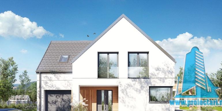 design fatada minimalist pentru proiect de casa cu mansarda 180m2, cu terasa mare, garaj si zona de odihna cu barbeque