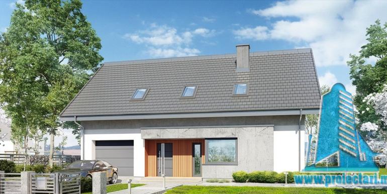design fatada pentru proiect de casa cu acoperis din tigla 160m2 cu garaj pentru un automobil