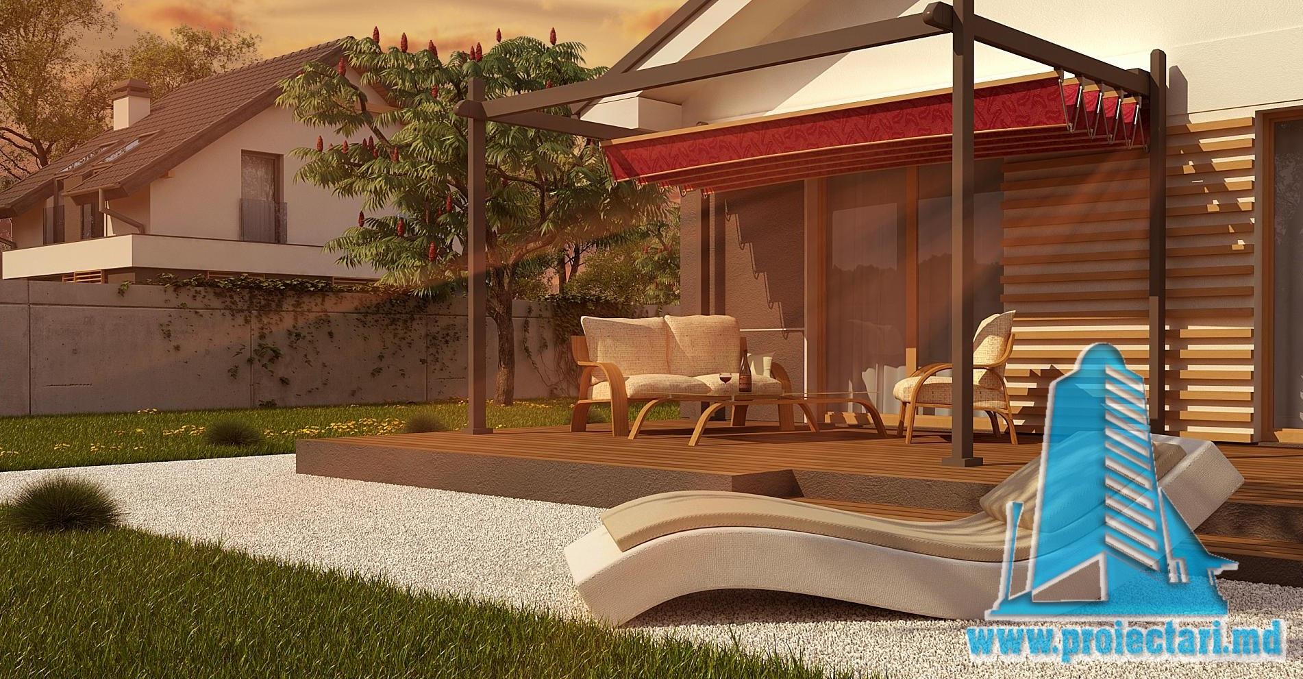 Proiect de casa cu parter si acoperis in panta din tigla ceramica-111m2-100979